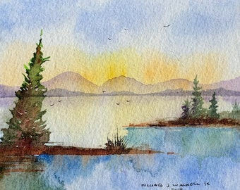 Lake View with Mountain Landscape (Original Watercolor Painting) Unframed