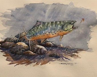 Brook Trout Swimming Near Lure (Original Watercolor Painting)