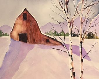 Red Barn (Original Watercolor Painting) Winter Landscape