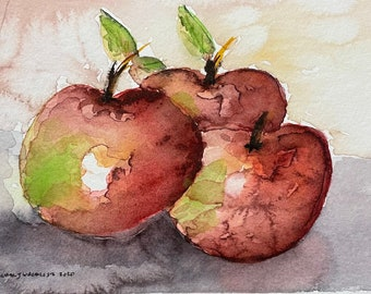 "Trio of Apples (Original Watercolor Painting 5""x7"")"
