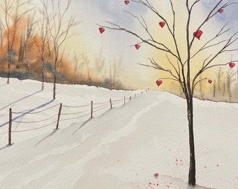 "Valentine's Heart Tree (Original Watercolor Painting 11""x14"")"