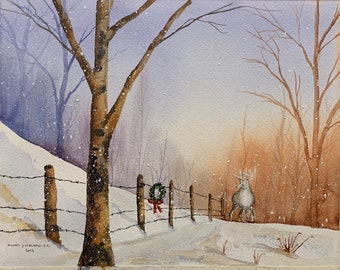 Down at Holler Deer by Winter Fence (Original Watercolor Painting)