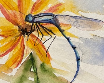 "Dragonfly Perched Upon a Yellow Flower (Original Watercolor Painting 5""x7"")"