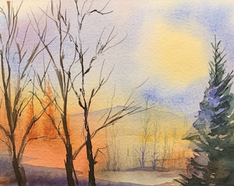 Wintery Sunset in Forest (Original Watercolor Painting)