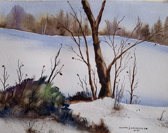 Holderness NH Winter Landscape 2 (Original Watercolor Painting)