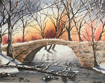 Winter Bridge in the Forest (Original Watercolor Painting)