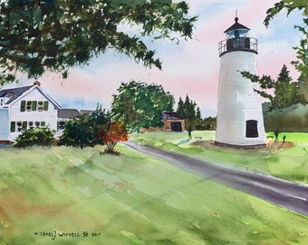 Plum Island Lighthouse (Original Watercolor Painting)