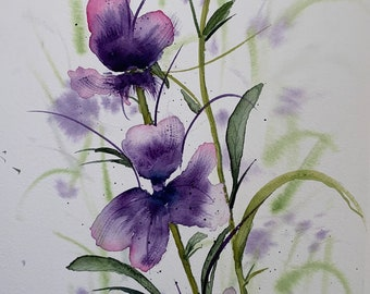 Purple Irises (Original Watercolor Painting)