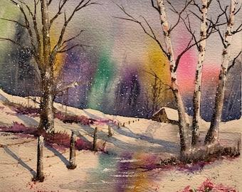 Rainbow Skyline in Winter (Original Watercolor Painting)