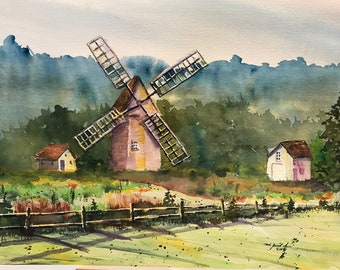 Windmill on Green Farm (Original Watercolor Painting)
