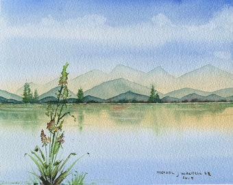 Mountain Lake View with Flowers (Original Watercolor Painting) Unframed