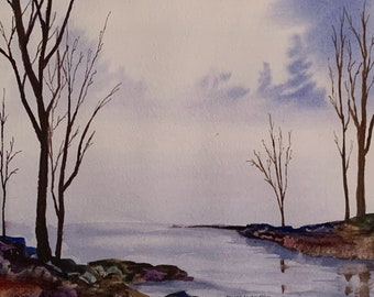 Wintery Lake from Holderness NH (Original Watercolor Painting)