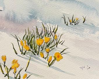 "Yellow Flowers Peeking Through the Snow (Original Watercolor Painting 5""x7"")"