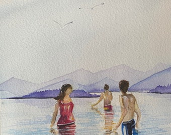 Swimmers at Ellacoya NH (Original Watercolor Painting)
