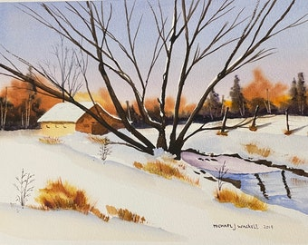 "Barn In Winter Landscape (Original Watercolor Painting 11""x14"")"