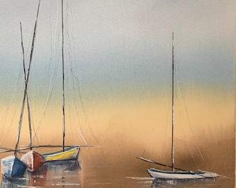 Docked Boats on Water (Original Watercolor Painting)