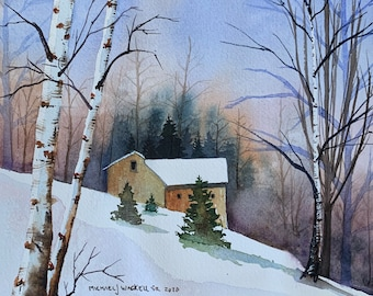 The House on the Snowy Hill (Original Watercolor Painting)