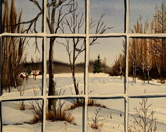 Through the Window of a Snowy Day (Original Watercolor Painting)