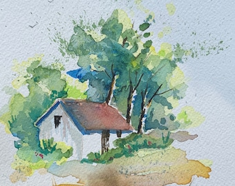 Small House Surrounded by Trees and Forest (Original Watercolor Painting)
