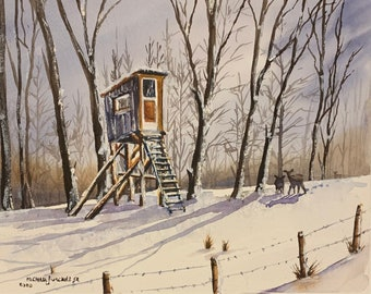 """Brian's Stand Deer Hunting in Pensylvannia (Watercolor Print 8""""x10"""")"""
