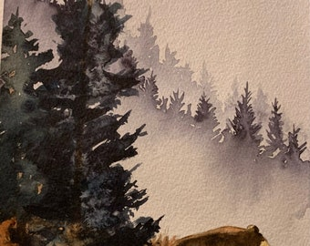 Bear on the Mountain (Original Watercolor Painting)