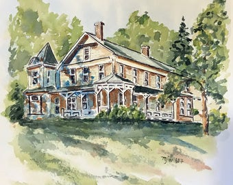Burbank Street House (Watercolor Print)