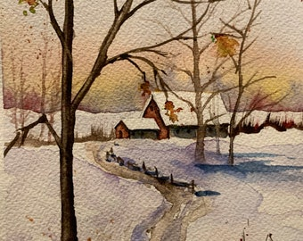 Winter Pathway to the Barn House (Original Watercolor Painting)