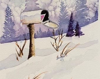 "Winter Mailbox (Original Watercolor Painting 5""x7"")"