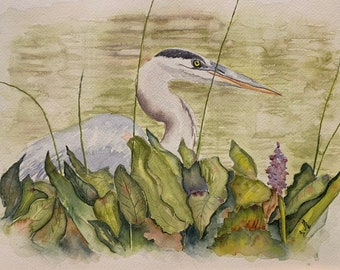 Blue Heron Amongst the Grass (Original Watercolor Painting)