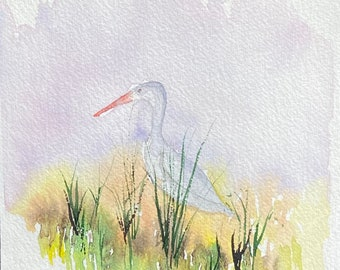 Crane in the Grass (Original Watercolor Painting)