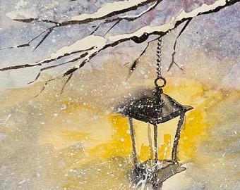"Glowing Winter Lantern (Original Watercolor Painting 5""x8"")"