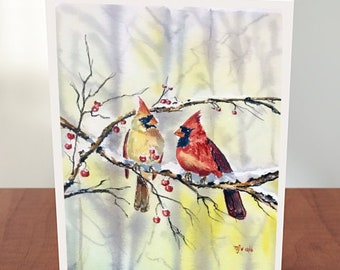 Set of 4 Cards with Envelopes Cardinals