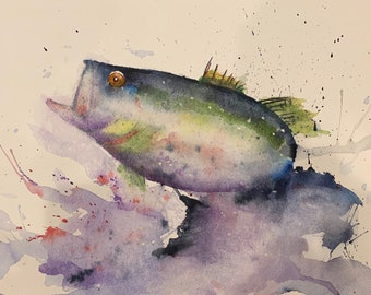 Bass Fish Jumping out of Water (Original Watercolor Painting)