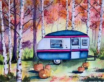 Autumn Camper with Jack O' Lanterns (Original Watercolor Painting)