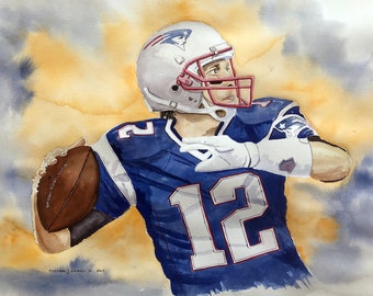 Tom Brady Patriots Football Watercolor Print