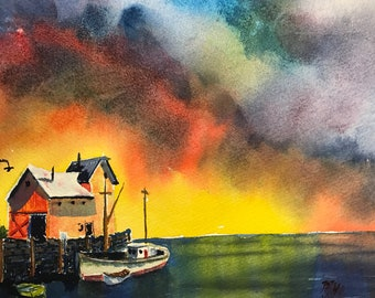 Stormy Colorful Sky Boat at Dock (Original Watercolor Painting)