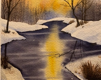 Sunrise Over a Snowy River (Original Watercolor Painting)