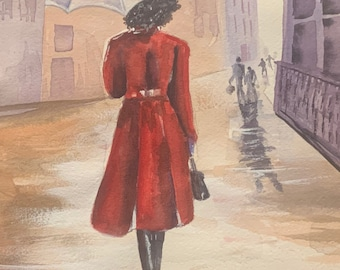Red Coat Woman with Umbrella (Limited Prints)