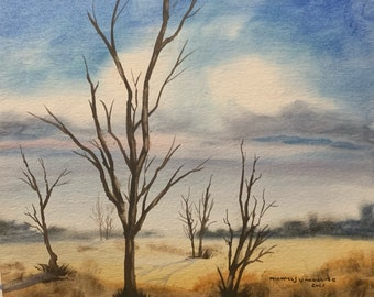 Naked Trees in a Empty Field (Original Watercolor Painting)