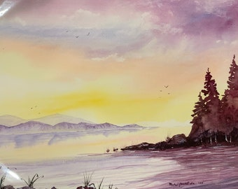 Purple Lake (Original Watercolor Painting)