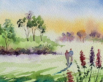 Green Meadow Walk Landscape (Original Watercolor Painting) Unframed