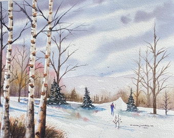 Hiking in a Birch Tree Winter Forest (Original Watercolor Painting)