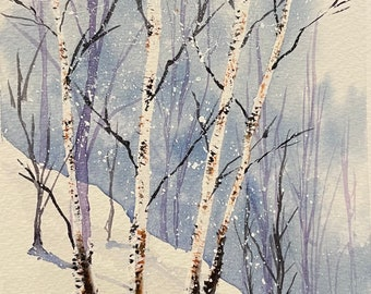 "Tall Winter Birches (Original Watercolor Painting 5""x7"")"