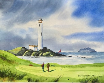 Turn berry Golf CourseScotland 10th Hole (Original Watercolor Painting)