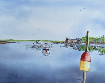 Boats in the Bay (Original Watercolor Painting)