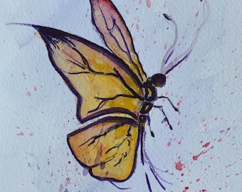 Bold Yellow Butterfly (Original Watercolor Painting) Unframed