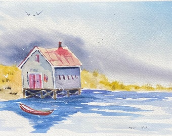 Ocean Front Boathouse (Original Watercolor Painting)