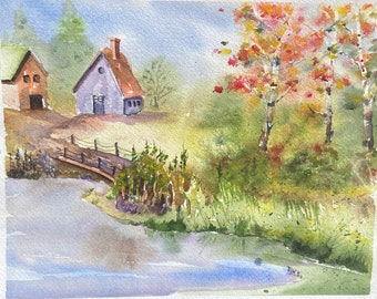 Houses by the River in Fall (Original Watercolor Painting)
