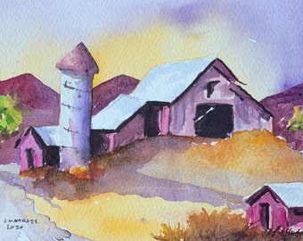 Purple Farmhouse and Silo (Original Watercolor Painting)