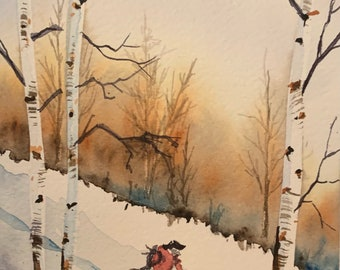 Snowboarder Amongst Birch Trees (Original Watercolor Painting)
